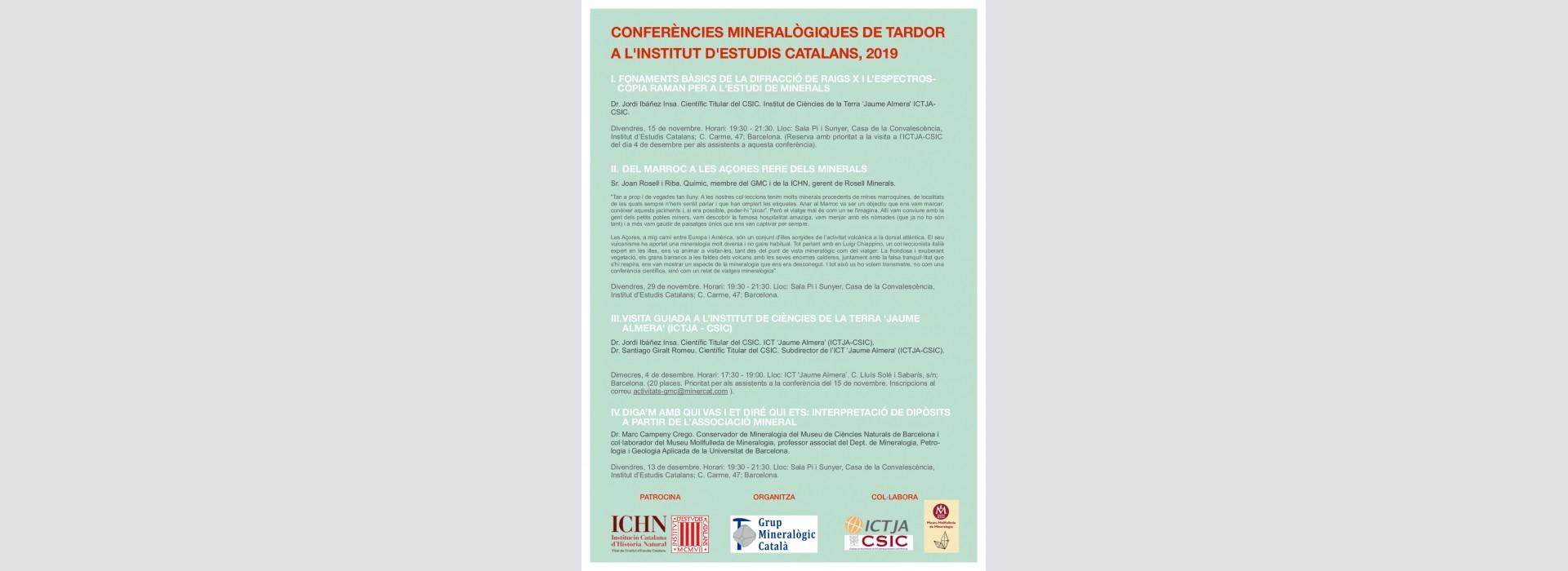 Conferencias mineralógicas de otoño en el Institut d'Estudis Catalans 2019